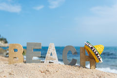 Spanish beach. With landscape and Sombrero royalty free stock photography