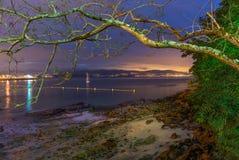 Spanish beach at night, Pontevedra Stock Photography