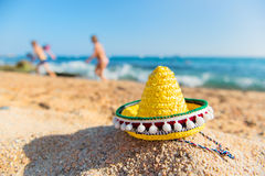 Spanish beach. Typical Spanish Sombrero hat at the beach Royalty Free Stock Photos