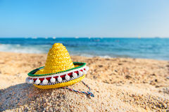 Spanish beach. Typical Spanish Sombrero hat at the beach Stock Images