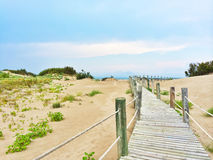 Spanish beach with white sand dunes Royalty Free Stock Photos