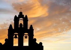 Spanish bell tower silhouette. Spanish mission bell tower silhouetted at sunset, Texas, U.S.A stock images
