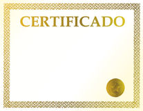 Spanish blank certificate Royalty Free Stock Image