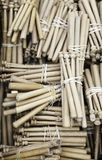 Spanish Bobbins for sewing. Detail of some old tools for sewing and crafts tradition Royalty Free Stock Photo