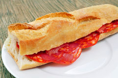 Spanish bocadillo de chorizo, a chorizo sandwich Royalty Free Stock Photos