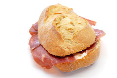 Spanish bocadillo de jamon serrano, a serrano ham sandwich Royalty Free Stock Photos