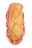 Spanish bocadillo de lomo embuchado, a sandwich with cold meats Royalty Free Stock Photo