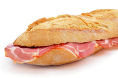 Spanish bocadillo de lomo embuchado, a sandwich with cold meats Royalty Free Stock Photography