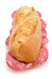 Spanish bocadillo de salchichon, a sandwich with spanish salami Royalty Free Stock Photography