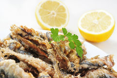 Spanish boquerones fritos, battered and fried anchovies typical Royalty Free Stock Images