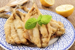 Spanish boquerones fritos, battered and fried anchovies typical Stock Image