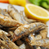 Spanish boquerones fritos, fried anchovies typical in Spain Stock Photo