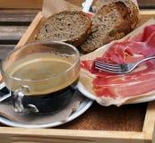 Spanish breakfast – coffee, toasts, jamon Stock Photos