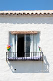 Spanish building and Window on Sunny Day. Typical and Traditional Sunny Spanish Building and Window Stock Photos