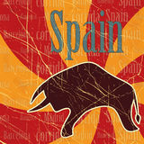 Spanish bull on grungy background Stock Photos