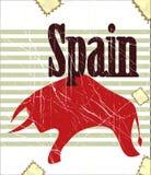Spanish bull on grungy background Royalty Free Stock Photos