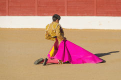 Spanish bullfighter awaiting the bull Stock Images