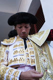 Spanish bullfighter Curro Diaz  getting dressed for the paseillo or initial parade Royalty Free Stock Photo