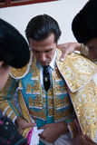 The spanish bullfighter David Mora  getting dressed for the paseillo or initial parade Stock Photography