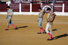 The spanish bullfighter El Fandi, Juan Luis Pizarro and Enrique Ponce at the paseillo or initial parade Stock Image