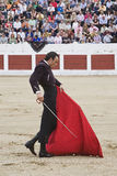 The Spanish Bullfighter Finito de Cordoba bullfighting with the crutch in the Bullring of the Linares Royalty Free Stock Image