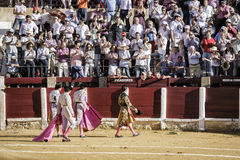 Spanish Bullfighter with his crew giving a lap of honor by thanking the public at the end of his show in Ubeda Stock Photos