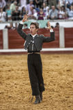 Spanish bullfighter on horseback Leonardo Hernandez  bullfighting on horsebackin a gesture of satisfaction and triumph when you ju Royalty Free Stock Image