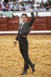 Spanish bullfighter on horseback Leonardo Hernandez  bullfighting on horsebackin a gesture of satisfaction and triumph when you ju Stock Photo