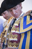 The spanish bullfighter Jose Luis Moreno getting dressed for the paseillo or initial parade Royalty Free Stock Image
