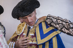 The Spanish Bullfighter Jose Luis Moreno  putting itself the wal Stock Images