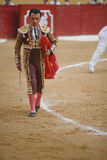 The spanish bullfighter Jose Ortega Cano with the Cape in the Bullfight in Atarfe coliseum Stock Photo