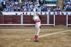 Spanish bullfighter Juan Jose Padilla with the right hand full of sand remembering the death of the big toreador Paquirri died in Stock Photography
