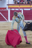 The Spanish Bullfighter Manuel Escribano bullfighting with the c. Sabiote, Spain - August 23, 2014: The Spanish Bullfighter Manuel Escribano bullfighting with royalty free stock photography