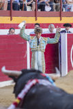 The Spanish Bullfighter Manuel Escribano putting flags during a. Sabiote, Spain - August 23, 2014: The Spanish Bullfighter Manuel Escribano putting flags during stock image
