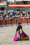Spanish bullfighter Miguel Abellan with the cape in the main sq Stock Image