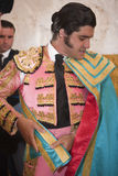 The spanish bullfighter Morante de la Puebla getting dressed for the paseillo or initial parade Stock Photography