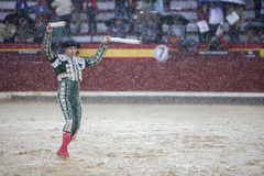 The Spanish Bullfighter during a rainy afternoon bullfighting in Royalty Free Stock Photo