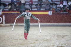 The Spanish Bullfighter during a rainy afternoon bullfighting in Royalty Free Stock Photography