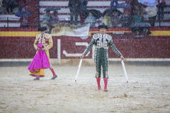 The Spanish Bullfighter during a rainy afternoon bullfighting in Stock Photo