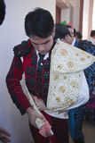 The spanish bullfighter Salvador Vega getting dressed for the paseillo or initial parade Stock Image