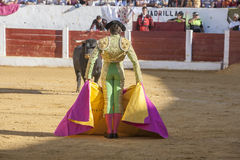 The Spanish Bullfighter Sebastian Castella bullfighting with the. Andujar, Spain - September 12, 2008: The Spanish Bullfighter Sebastian Castella bullfighting Royalty Free Stock Photography