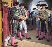 Spanish bullfighters at the paseillo or initial parade in Anduja Royalty Free Stock Image