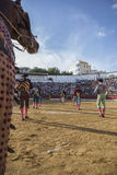 Spanish bullfighters at the paseillo or initial parade in bullri Royalty Free Stock Photo