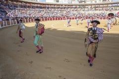 Spanish bullfighters at the paseillo or initial parade in bullri Royalty Free Stock Photos
