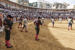 Spanish bullfighters at the paseillo or initial parade in Ubeda Royalty Free Stock Photo