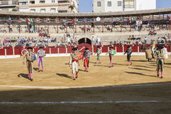Spanish bullfighters at the paseillo or initial parade in Ubeda Royalty Free Stock Photos