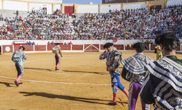 Spanish bullfighters at the paseillo or initial parade in Ubeda. Ubeda, SPAIN - September 12, 2008: Spanish bullfighters at the paseillo or initial parade in Royalty Free Stock Image