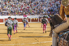 Spanish bullfighters at the paseillo or initial parade in Ubeda. Ubeda, SPAIN - September 12, 2008: Spanish bullfighters at the paseillo or initial parade in Stock Images