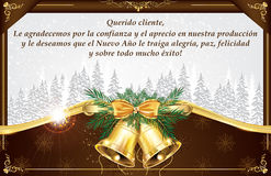 Spanish business greeting card for New Year. Royalty Free Stock Images