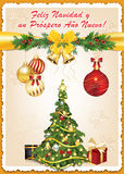 Spanish business season`s greetings. Christmas & New Year card - We wish you Merry Christmas and Happy New Year! Spanish language Print colors used Royalty Free Stock Images